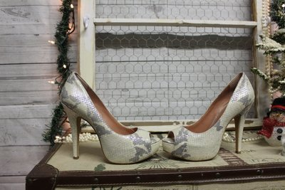Vince Camuto Cream and silver open Toe heels size 7