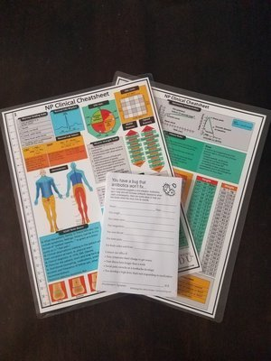 Advice Scripts (Viral illness) & NP Clinical Cheatsheet laminated bundle