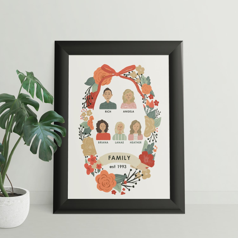 Custom Floral Family Portrait