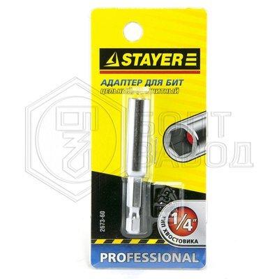 Адаптер STAYER для бит цельный магнитный 60 мм