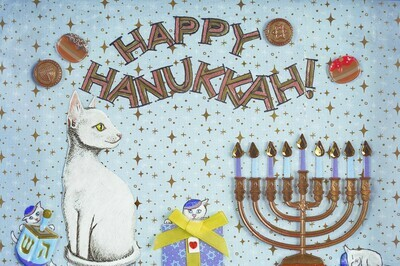 Hanukkah Triplets greeting card