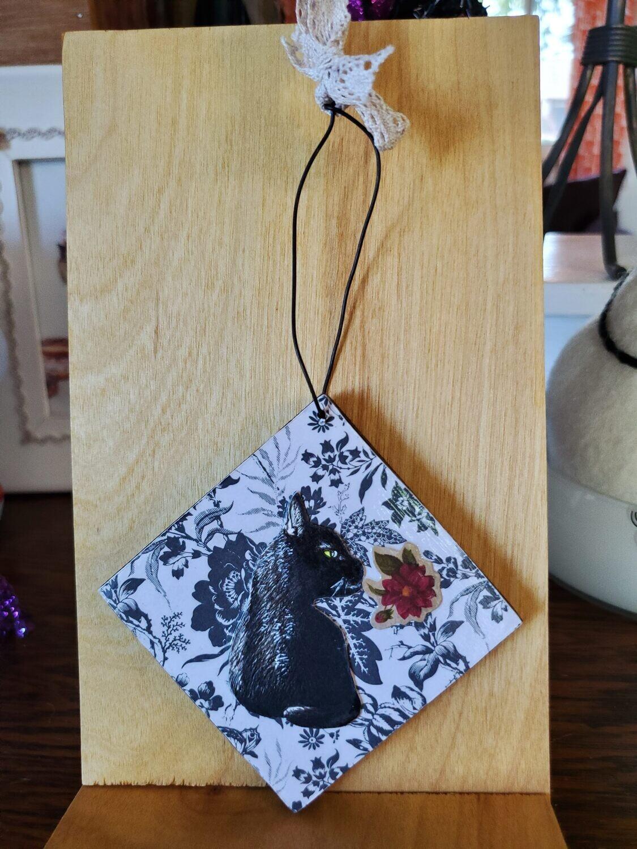 Black cat / skeleton ornament