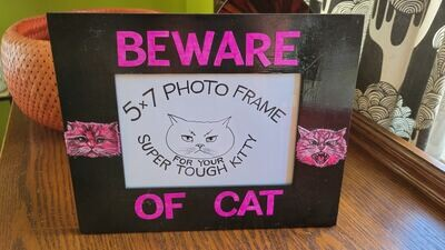 Beware of Cat, 5x7 photo frame