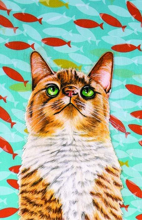 Cat fish tank Greeting cards