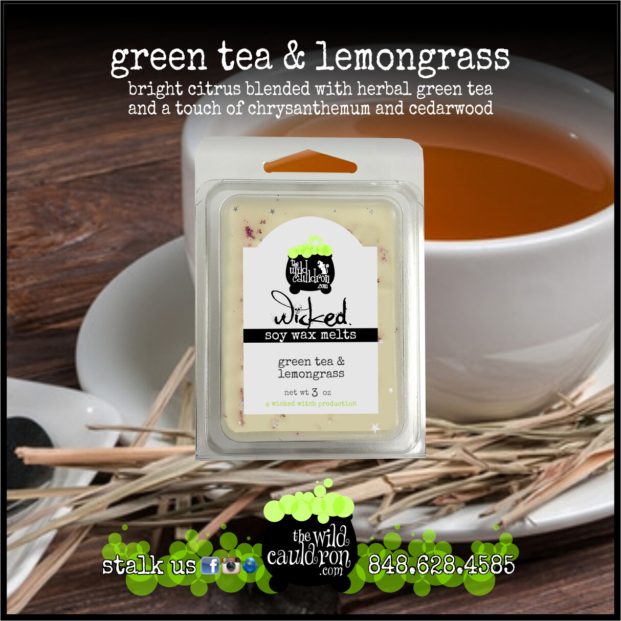 Green Tea and Lemongrass Wicked Wax Melts