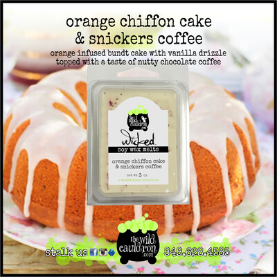 Orange Chiffon Cake with Snickers Coffee Wicked Wax Melts