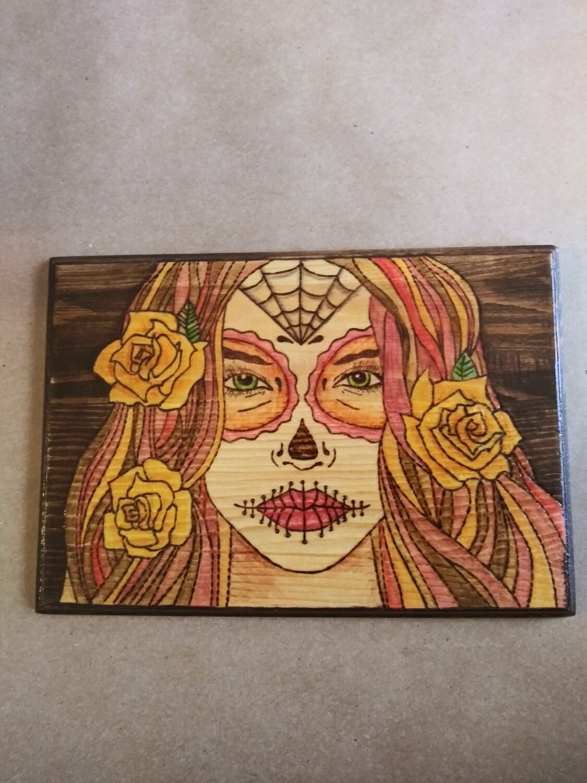 Sugar Skull Girl Yellow Roses