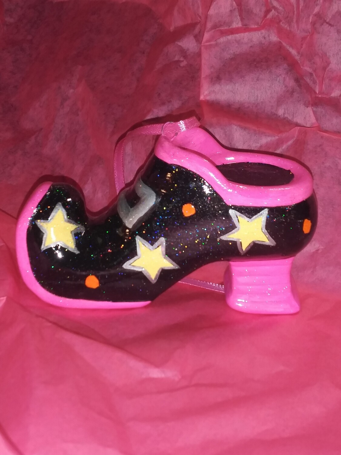 All About The Shoes Ornament - Pink Star