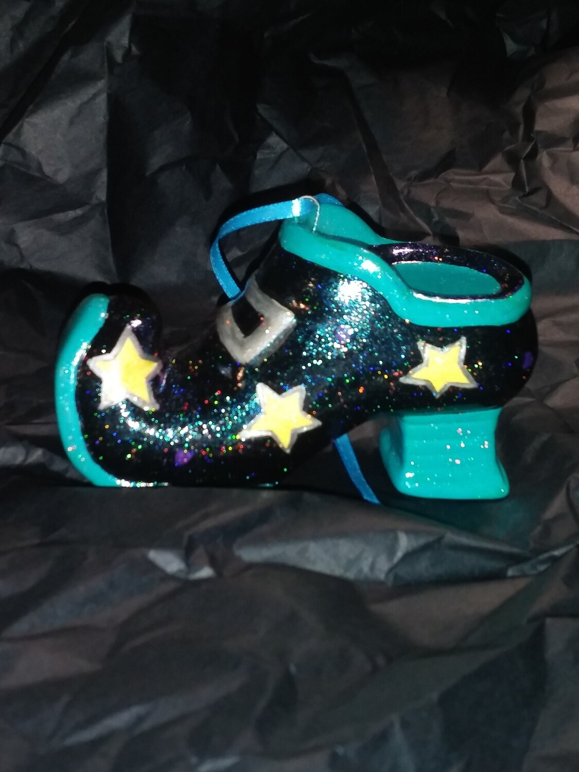 All About The Shoes Ornament - Teal Star