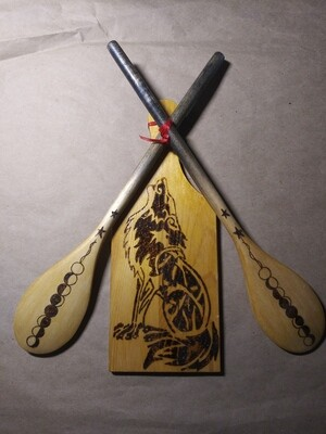 Wolf Set - Cheeseboard and (2) Wooden Spoons