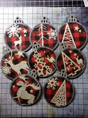 Buffalo Print Ornaments (Set of 8)
