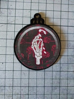 Creepy Skeleton Candy Cane Ornament