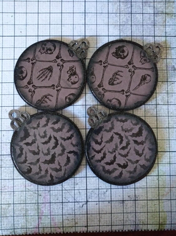 Bats and Bones Ornaments (set of 4)