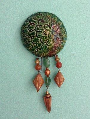 Raku and Beads wall hanging