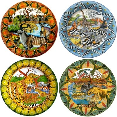 Set of 4 Dinner Plates Kudu,Zebra,Cheetah,Leopard FREE SHIPPING