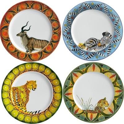 Set of 4 Salad Plates Kudu,Zebra,Cheetah,Leopard FREE SHIPPING
