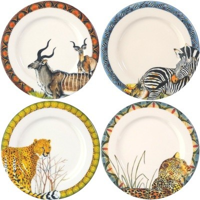 Set of 4 Bread Plates Kudu,Zebra,Cheetah,Leopard FREE SHIPPING