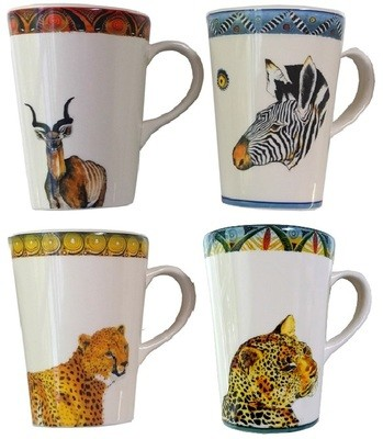 Set of 4 Coffee Mugs Kudu,Zebra,Cheetah,Leopard FREE SHIPPING
