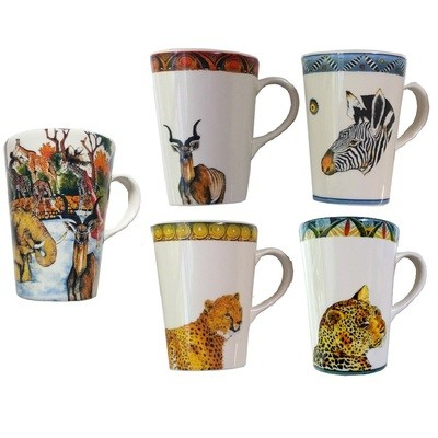 Set of 5 Mugs (Classic, Kudu,Zebra,Cheetah,Leopard) FREE SHIPPING