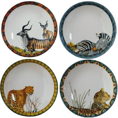 Set of 4 Wok Plates Kudu,Zebra,Cheetah,Leopard FREE SHIPPING