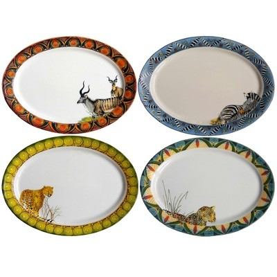 Set of 4 Oval Platters Kudu,Zebra,Cheetah,Leopard FREE SHIPPING