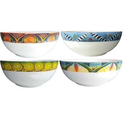 Set of 4 Large Salad Bowls Kudu,Zebra,Cheetah,Leopard FREE SHIPPING