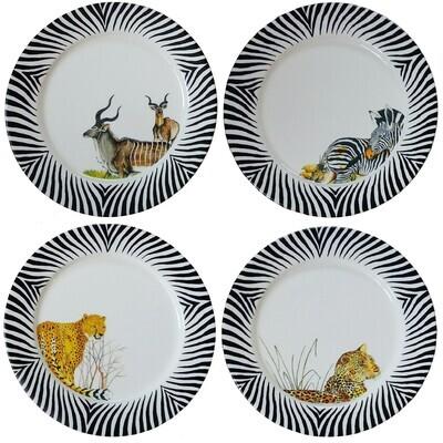 Set of 4 Charger Plates Kudu,Zebra,Cheetah,Leopard FREE SHIPPING
