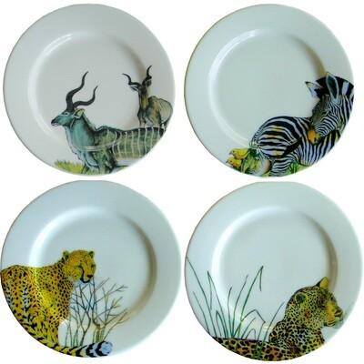 Set of 4 Bread Plates Kudu,Zebra,Cheetah,Leopard FREE SHIPPING