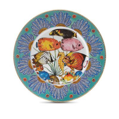 """Presentation Plate Feathers 12.6"""" with gold rim"""