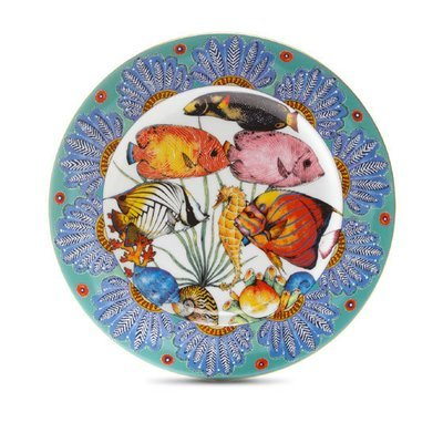 """Dinner Plate Feathers 10.4"""" with gold rim"""