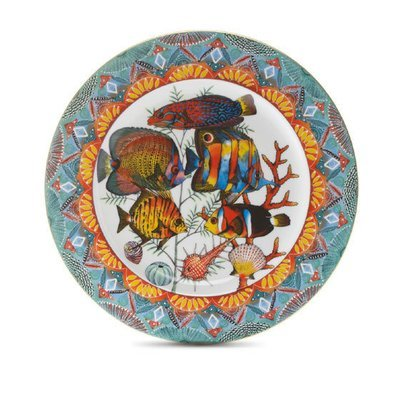 """Dinner Plate Fan 10.4"""" with gold rim"""
