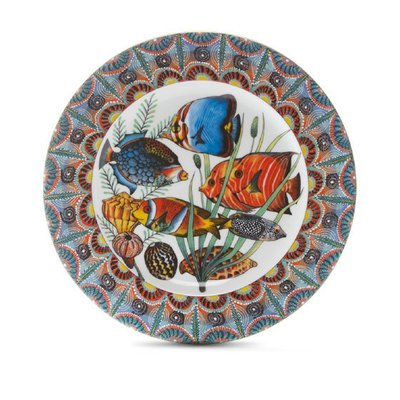 """Dinner Plate Ndoro 10.4"""" with gold rim"""