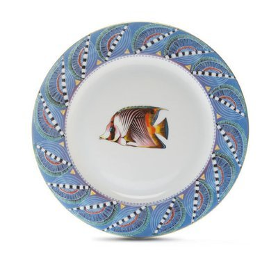 """Salad Plate Quill 8.7"""" with gold rim"""