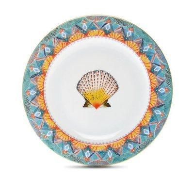 """Bread Plate Fan 6"""" with gold rim"""