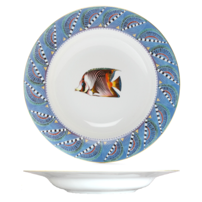 """Soup Plate Quill 8.7"""" with gold rim"""