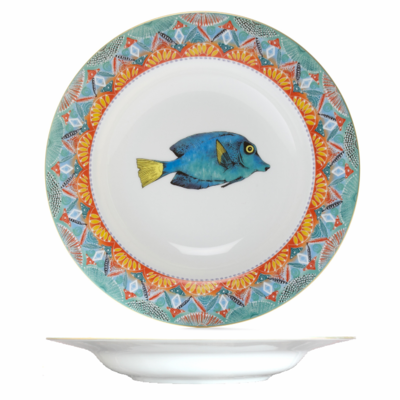 """Soup Plate Fan 8.7"""" with gold rim"""