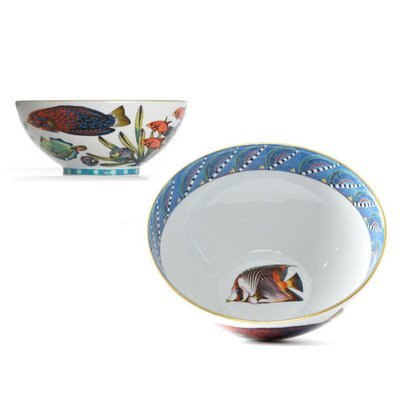 """Cereal Bowl Quill 6.3"""" with gold rim"""