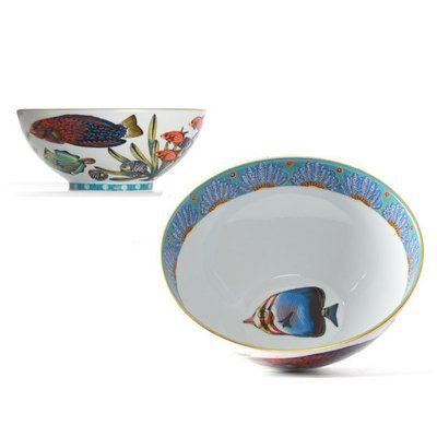 """Cereal Bowl Feathers 6.3"""" with gold rim"""
