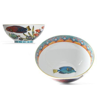 """Cereal Bowl Fan 6.3"""" with gold rim"""