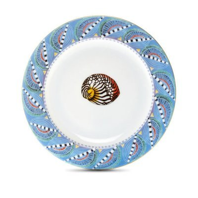 """Bread Plate Quill 6"""" with gold rim"""