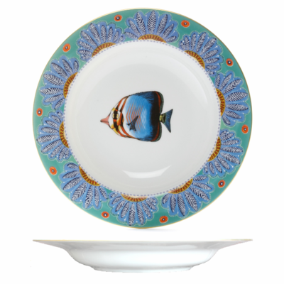 """Soup Plate Feathers 8.7"""" with gold rim"""