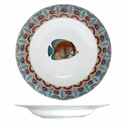 """Soup Plate Ndoro 8.7"""" with gold rim"""