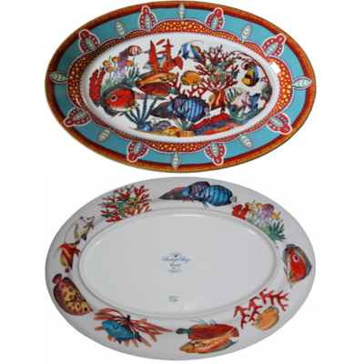 """Oval Platter 10.4"""" with gold rim"""