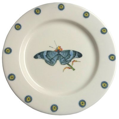 Bread Plate Blue Butterfly 7.5""