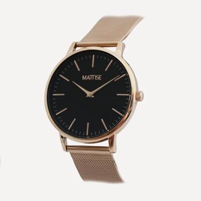 Valerie Black with Rose Gold mesh strap