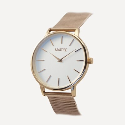 Valerie white with Rose Gold mesh strap