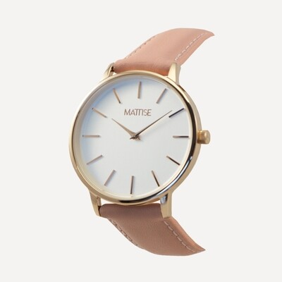 Valerie white with Pink leather strap