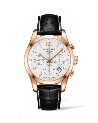 Conquest Classic Silver Dial 18KT 41MM Automatic Chronograph  L27868763
