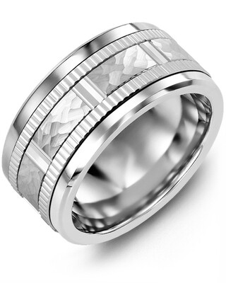 MLQ SS - Men's Hammer Design Eternity Edges Wedding Ring
