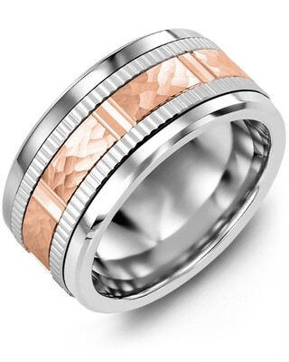 MLQ GLD - Men's Hammer Design Eternity Edges Wedding Ring